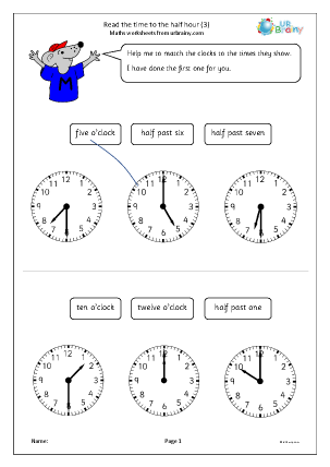 Preview of worksheet Read the time to the half hour (3)