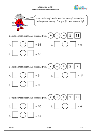 Preview of worksheet Missing signs (4)