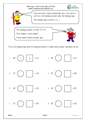 Preview of worksheet Missing numbers and signs  (5 and 8)