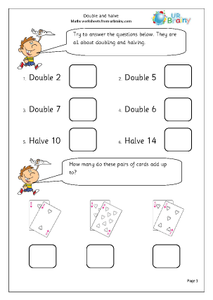Double and halve Multiplication Maths Worksheets For Year 2 (age 6-7)