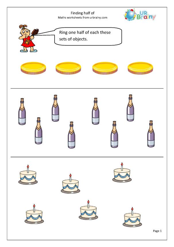 Finding halves - Fraction Worksheets for Year 2 (age 6-7 ...