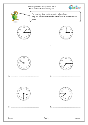 Preview of worksheet Reading time to the quarter hour