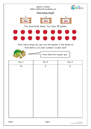 Preview of worksheet Apples in boxes