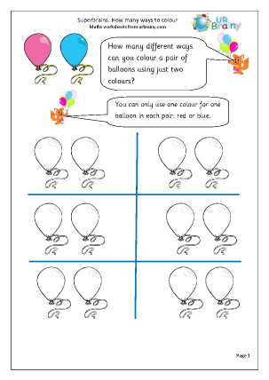 Preview of worksheet Colour balloons: how many ways?