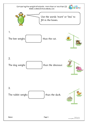 Preview of worksheet Comparing weight: more than or less than (2)