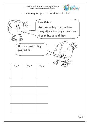 Preview of worksheet Dice problem solving