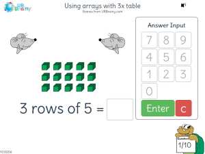 Preview of game Using arrays with 3x table