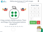 Adding equal groups of 4 with images