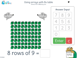 Preview of game Using arrays with 8x table