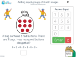 Adding equal groups of 8 with images