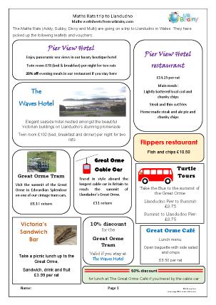 Preview of worksheet Maths Rats trip to Llandudno