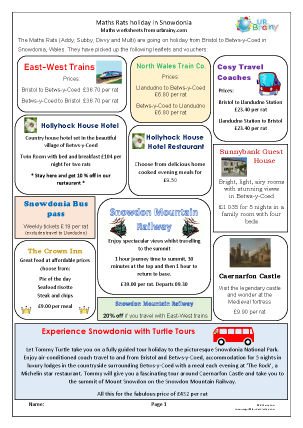 Preview of worksheet Maths Rats holiday in Snowdonia