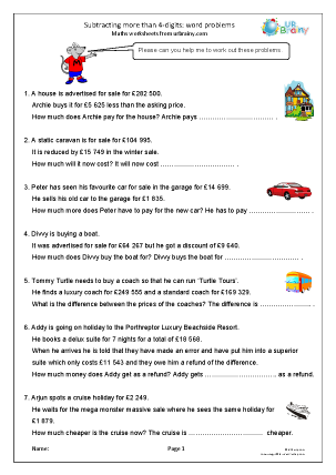 Preview of worksheet Subtracting more than 4-digits: word problems