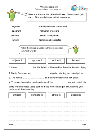 Preview of worksheet Words ending with ent