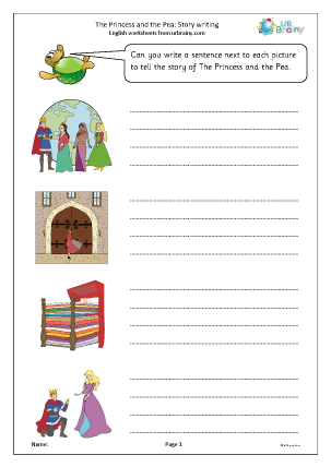 Preview of worksheet The Princess and the Pea: story writing