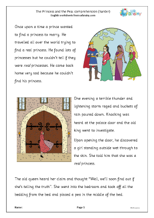 Preview of worksheet The Princess and the Pea: harder comprehension