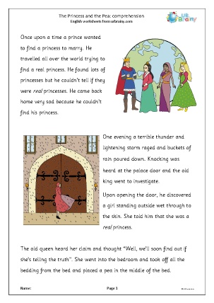 Preview of worksheet The Princess and the Pea: comprehension