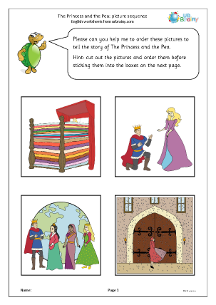 Preview of worksheet The Princess and the Pea: picture sequence
