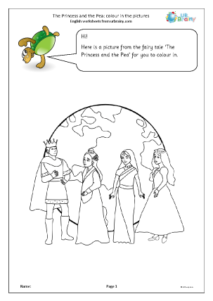 Preview of worksheet The Princess and the Pea: colouring pictures