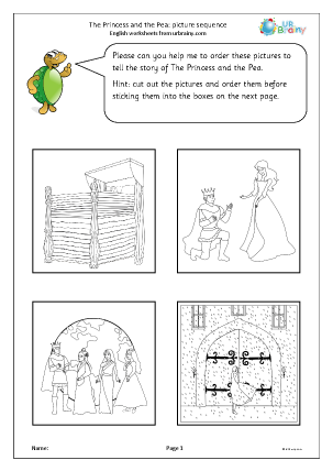 Preview of worksheet The Princess and the Pea: picture sequence black and white