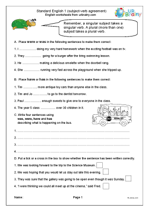 Preview of worksheet Standard English 1