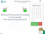Share into 2 equal groups