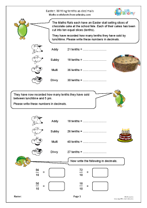 Preview of worksheet Easter fractions: tenths as decimals