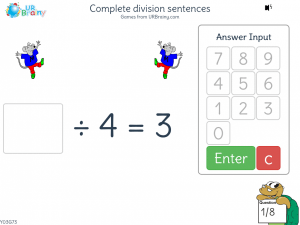Preview of game Complete division sentences