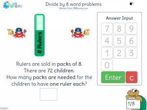Preview of game Divide by 8 word problems