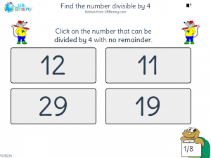Preview of game Find the number divisible by 4