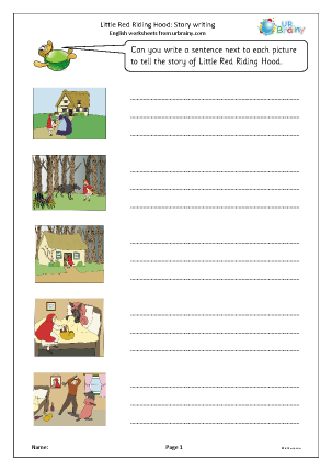 Preview of worksheet Little Red Riding Hood: story writing