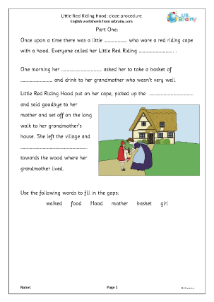 Preview of worksheet Little Red Riding Hood: cloze procedure