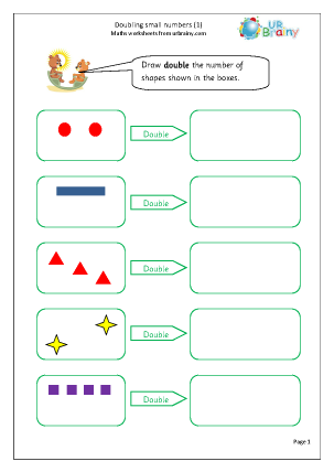 URBrainy Maths Worksheets Year 1 (age 5-6) Multiply and Divide Double ...