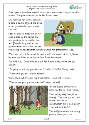 Preview of worksheet Little Red Riding Hood