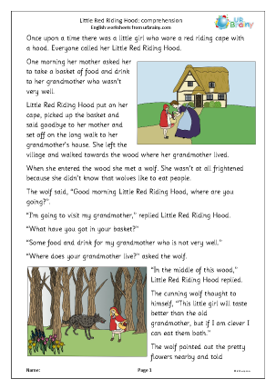 Preview of worksheet Little Red Riding Hood: comprehension