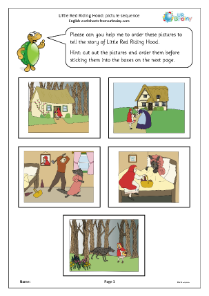 Preview of worksheet Little Red Riding Hood: picture sequence