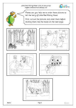 Preview of worksheet Little Red Riding Hood: picture sequence black and white