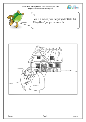 Preview of worksheet Little Red Riding Hood: colouring pictures