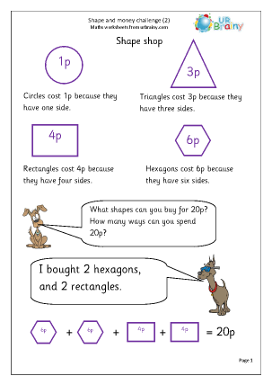 Preview of worksheet Shape and money challenge (2)