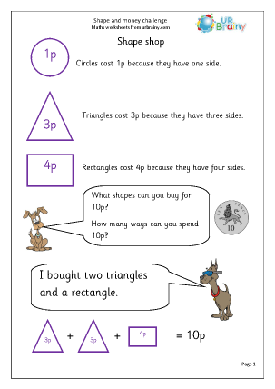 Preview of worksheet Shape and money challenge