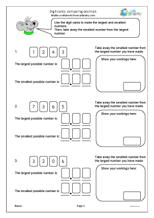 Preview of worksheet Digit cards: comparing decimals