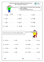 Writing decimals: value of digits and missing numbers