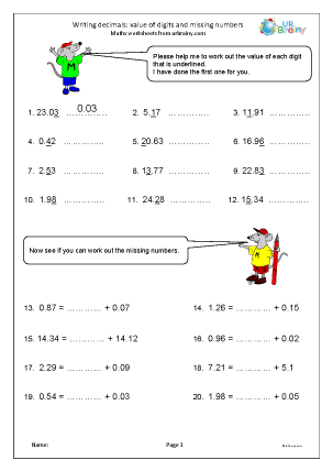 Preview of worksheet Writing decimals: value of digits and missing numbers