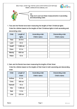 Preview of worksheet Decimals: ordering metres and centimetres Christmas
