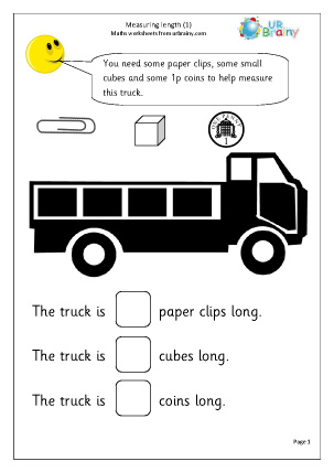 measuring length 1 shape and measures maths worksheets for year 1 age 5 6. Black Bedroom Furniture Sets. Home Design Ideas