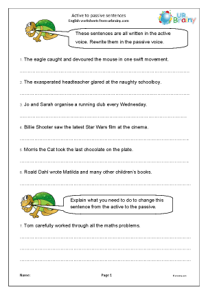 Preview of worksheet Active to passive sentences
