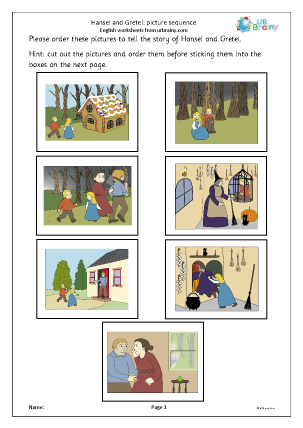 Preview of worksheet Hansel and Gretel: picture sequence