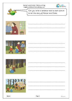 Preview of worksheet Hansel and Gretel: story writing