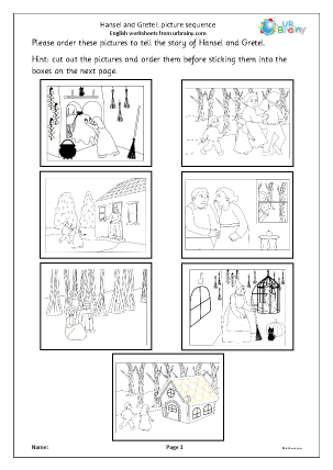 Preview of worksheet Hansel and Gretel: picture sequence black and white