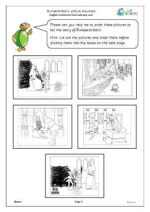 Preview of worksheet Rumpelstiltskin: picture sequence black and white